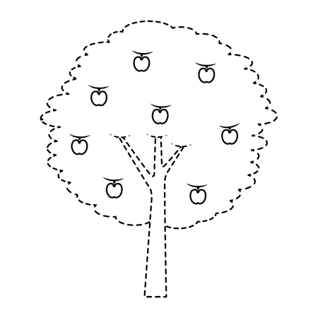 fruit apple tree agriculture nature botanical vector illustration sticker Illustration