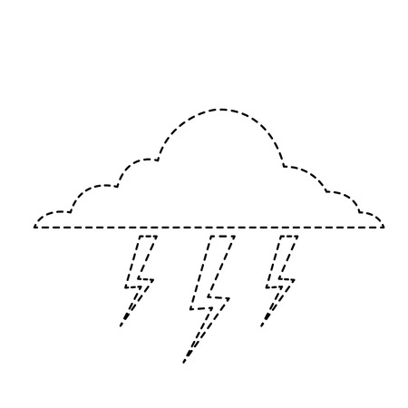 cloud lightning bolt storm natural climate vector illustration sticker