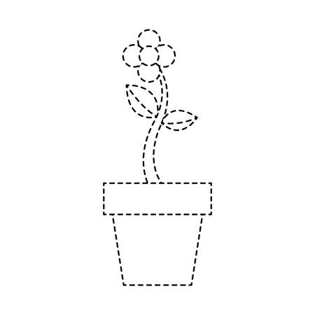 potted flower natural plant decoration vector illustration sticker