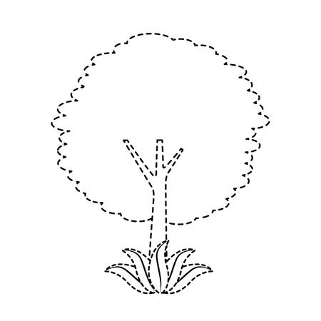 leafy tree leaves trunk foliage natural botanical vector illustration sticker Illustration