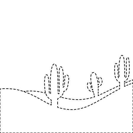 landscape desert with cactus plant sand vector illustration sticker Иллюстрация
