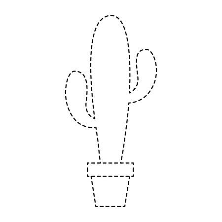 potted cactus plant natural decoration interior vector illustration sticker