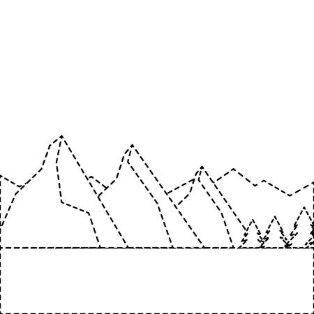 landscape natural peak mountains snow tree pine vector illustration sticker