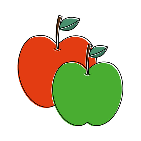 two apple fruit tropical nutrition food health vector illustration
