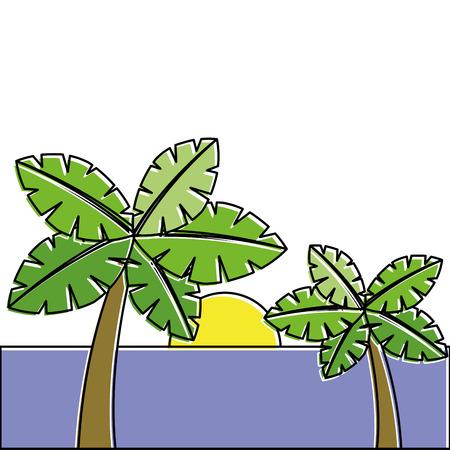 tropische twee palmbomen en zon oceaanparadijs