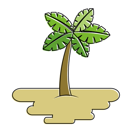 tropical palm tree on sand island flora plant vector illustration