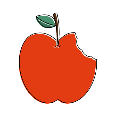 red apple with green leaf and bite food vector illustration