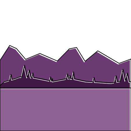 山と草原ベクトルイラストと風景