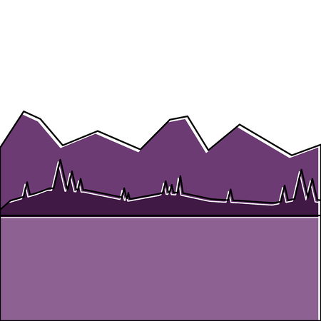 landscape with mountains and meadow vector illustration Illustration