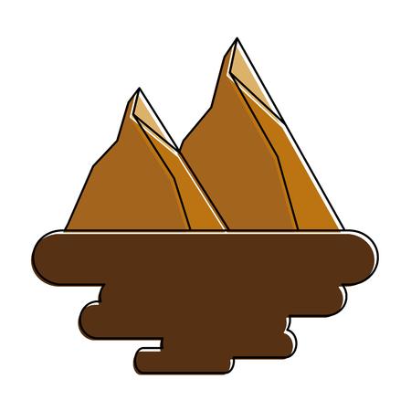 two mountain peaks natural land scene vector illustration