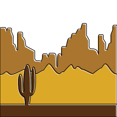 desert landscape with cactus and mountains vector illustration