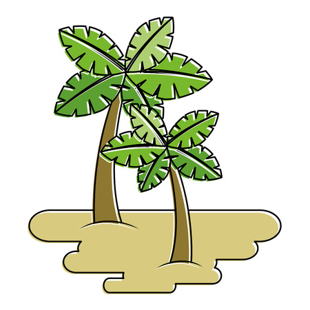 두 야자 나무에 모래 열 대 식물 벡터 일러스트 스티커 일러스트