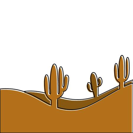 landscape desert with cactus plant sand vector illustration Illustration