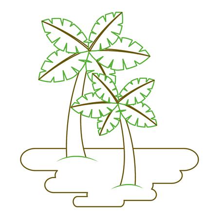 두 야자 나무에 모래 열 대 식물 벡터 일러스트 녹색 라인