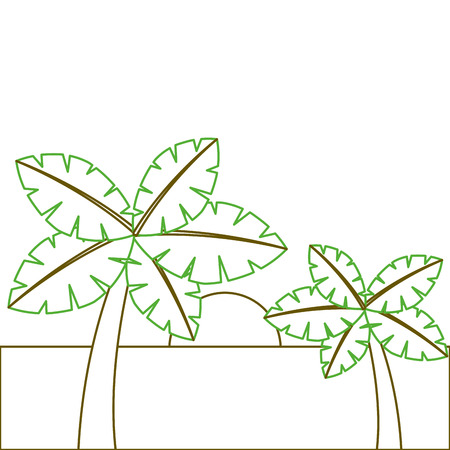 tropical two palm trees and sun ocean paradise vector illustration green line