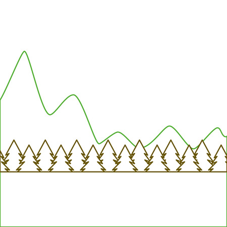natural mountains with tree pines forest landscape vector illustration green line Çizim