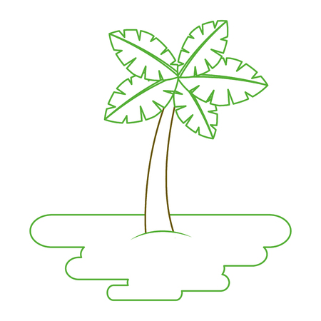 tropical palm tree on sand island flora plant vector illustration green line Illustration