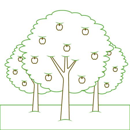 3つのりんごの木ブッシュ葉果実自然ベクトルイラストグリーンライン  イラスト・ベクター素材
