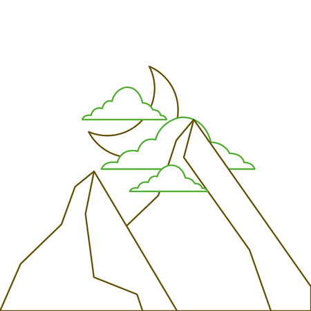 night in the mountains moon and clouds nature landscape vector illustration green line Illustration