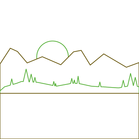 landscape with mountains sun and meadow vector illustration green line