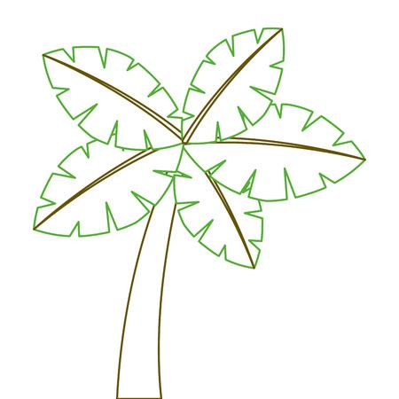 tropische palm exotische plant kofferbak natuur vector illustratie groene lijn Stock Illustratie