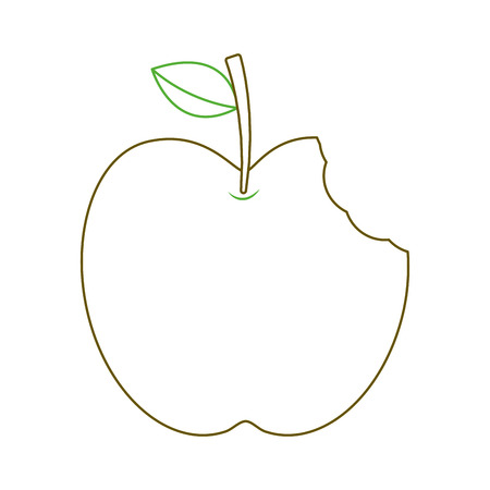 apple with green leaf and bite food vector illustration green line Ilustrace
