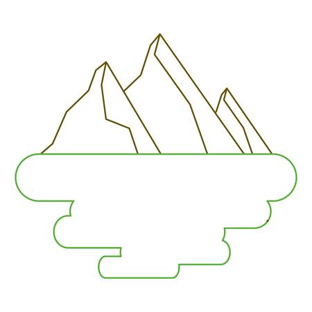 peak mountain snow landscape land scene vector illustration green line