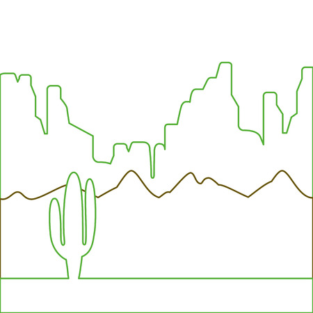 desert landscape with cactus and mountains vector illustration green line