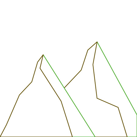 two mountain natural flora land scene vector illustration green line Illustration