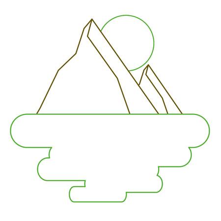 two mountain natural flora land scene sun vector illustration green line Ilustrace