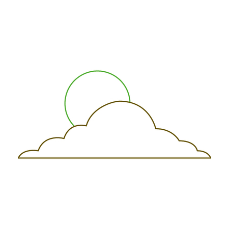 sun cloud day sky natural climate vector illustration green line