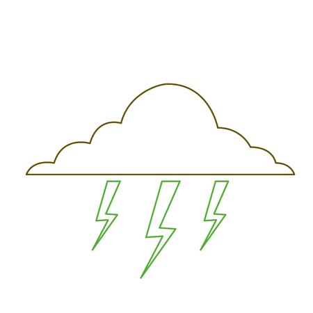 cloud lightning bolt storm natural climate vector illustration green line