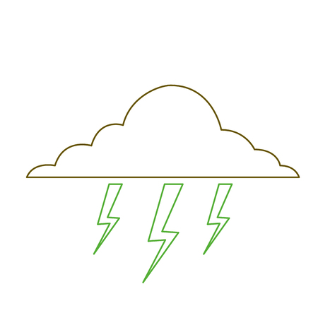 cloud lightning bolt storm natural climate vector illustration green line Stock Vector - 90828756