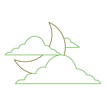 sky night cloud half moon nature weather vector illustration green line  イラスト・ベクター素材