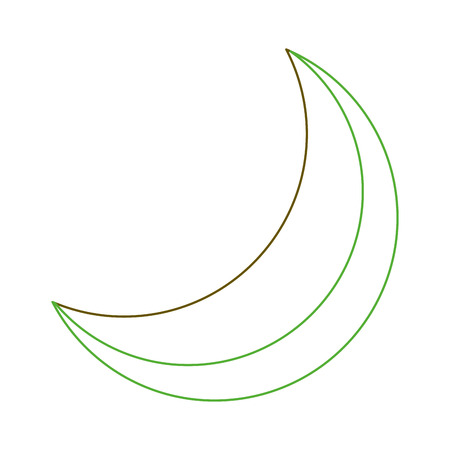 half moon night celestial natural image vector illustration green line