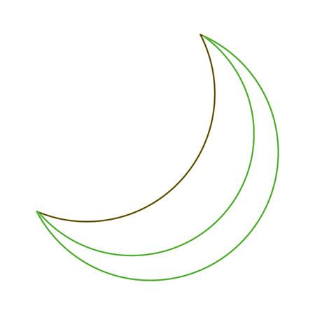 half moon night celestial natural image vector illustration green line
