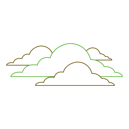 雲空気候曇りデイシーンベクトルイラストグリーンライン