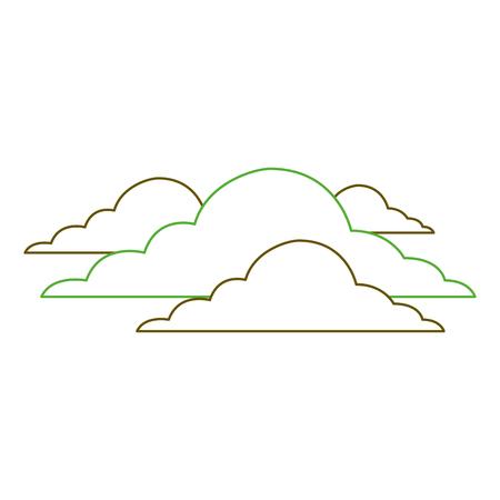 구름 날씨 흐린 날 현장 벡터 일러스트 레이 션 녹색 라인 스톡 콘텐츠 - 90828769