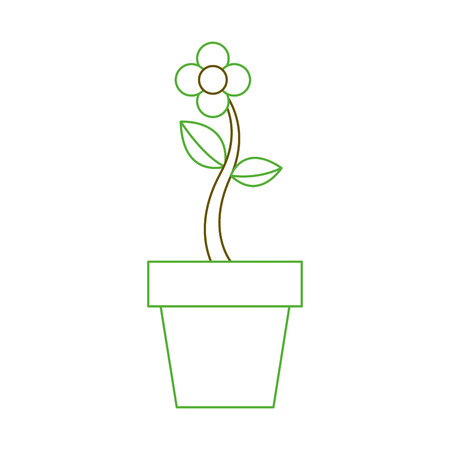potted flower natural plant decoration vector illustration green line