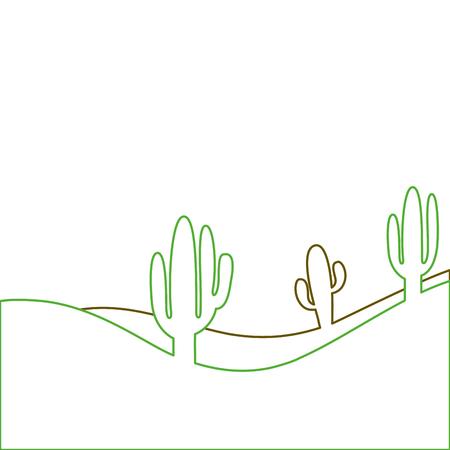 landscape desert with cactus plant sand vector illustration green line