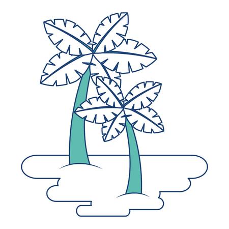 두 야자 나무에 모래 열 대 식물 벡터 일러스트 이미지 녹색