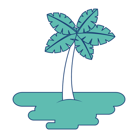tropical palm tree on sand island flora plant vector illustration image green