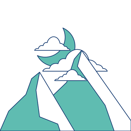 산에서 밤 달과 구름 자연 풍경 벡터 일러스트 레이 션 이미지 녹색