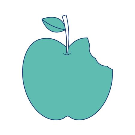 Pomme avec feuille verte et mordre nourriture vector illustration image vert Banque d'images - 90828842