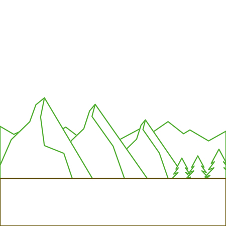 landscape natural peak mountains snow tree pine vector illustration green line Ilustração