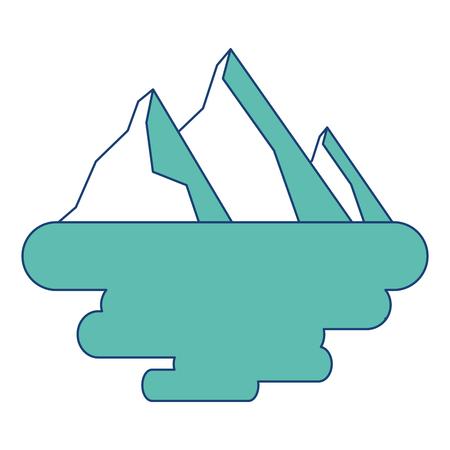 peak mountain snow landscape land scene vector illustration image green