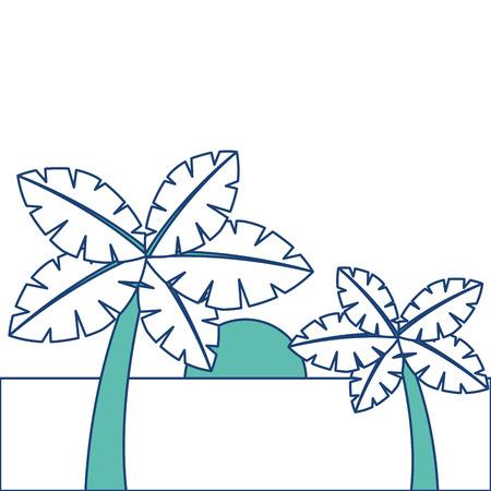 tropische twee palmbomen en zon oceaan paradijs vector illustratie afbeelding groen Stock Illustratie