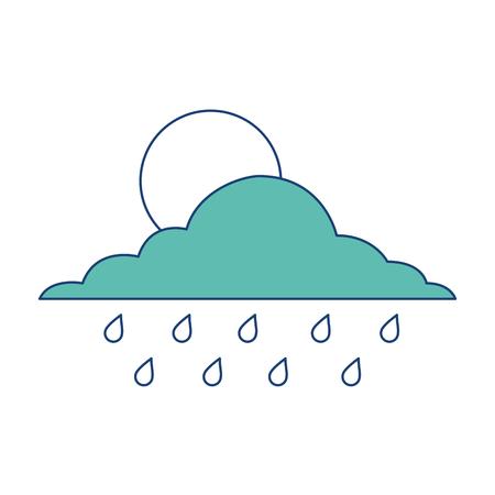 雲の太陽とドロップ雨天空ベクトルイラスト画像グリーン  イラスト・ベクター素材
