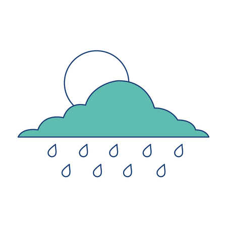 cloud sun and drops rain weather sky vector illustration image green Illustration