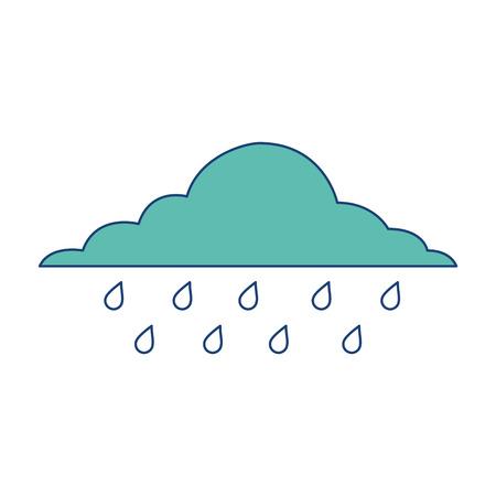 wolk regenachtige lucht voorspelling storm geïsoleerd pictogram vector illustratie afbeelding groen